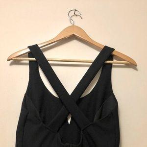 Criss-crossed back black dress